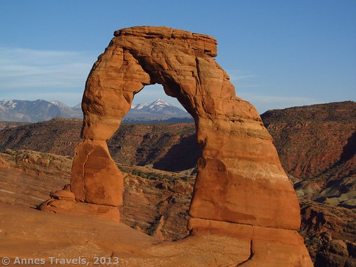 Delicate Arch about 30 minutes before sunset, Arches National Park, Utah, family-friendly hikes Arches