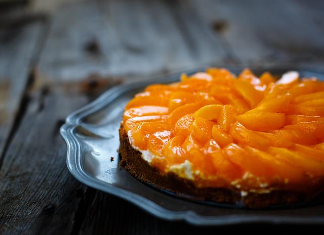 Apricot goat cheese tart