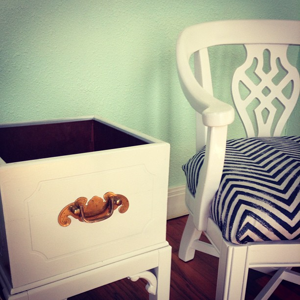 Chinoiserie chair with chevron fabric