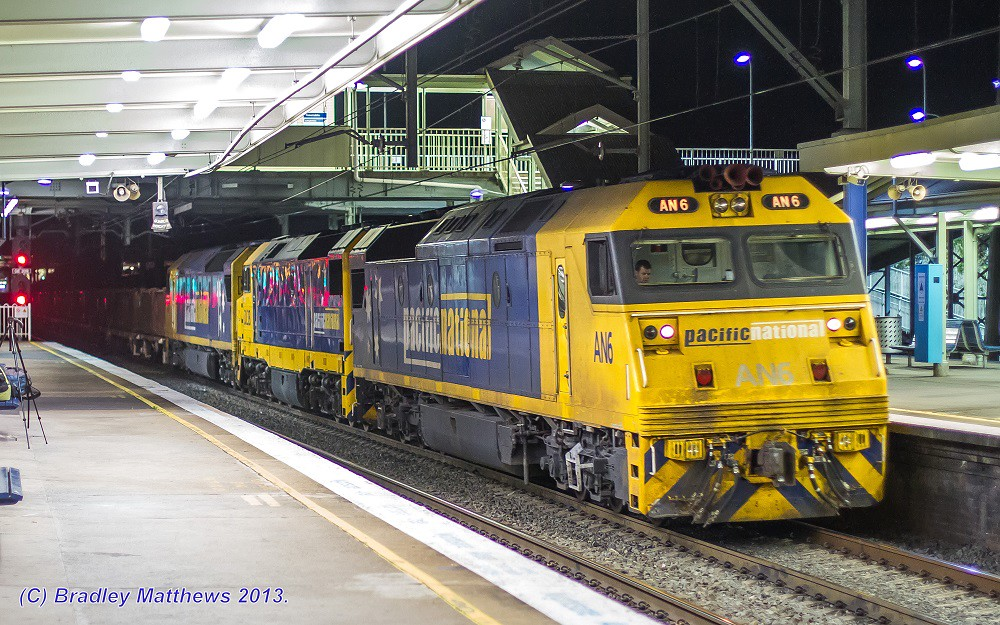 AN6-DL38-AN7 with #8934 ore train to Port Kembla at Clyde (2/10/2013) by Bradley Matthews