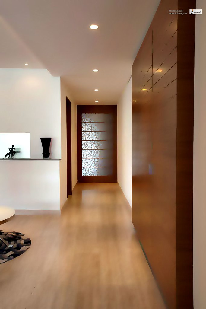 Brilliant view of the armoni apartment details design hallway with classic combination wooden material floor and wall