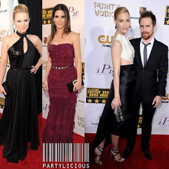 Kristen Bell, Sandra Bullock and Leslie Bibb with Sam Rockwell at the 19th Annual Critics' Choice Movie Awards 2014