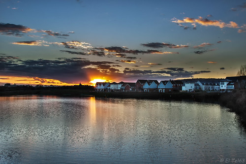 sunset lake surrey watercolour merstham canon24105mml canon50d