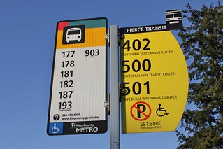 Metro and PT bus stop flags in Federal Way | SounderBruce