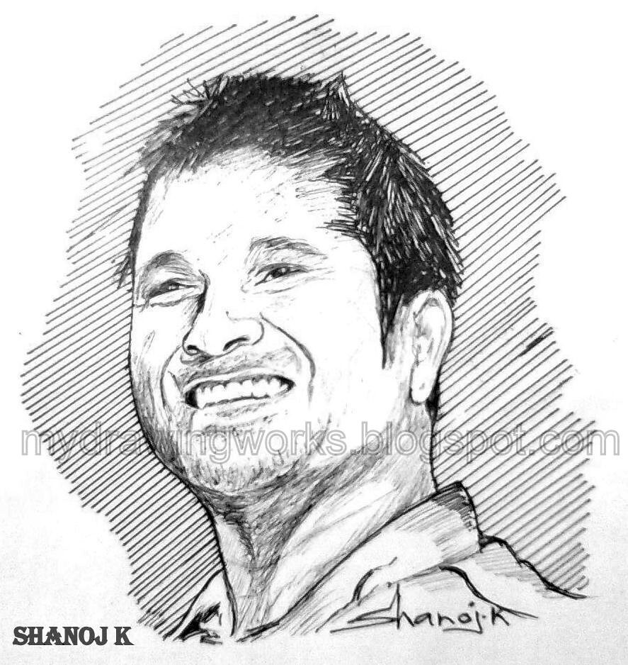 Sachin tendulkar sketch using pen by shanoj sachin tendulk flickr