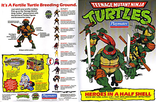 TEENAGE MUTANT NINJA TURTLES :: 'HEROES IN A HALF SHELL'  PLAYMATES TOYS 2009 NYCC / TMNT 25 RETRO PRINT ( 1987 Repro Sales Flyer } i (( 2009 )) by tOkKa