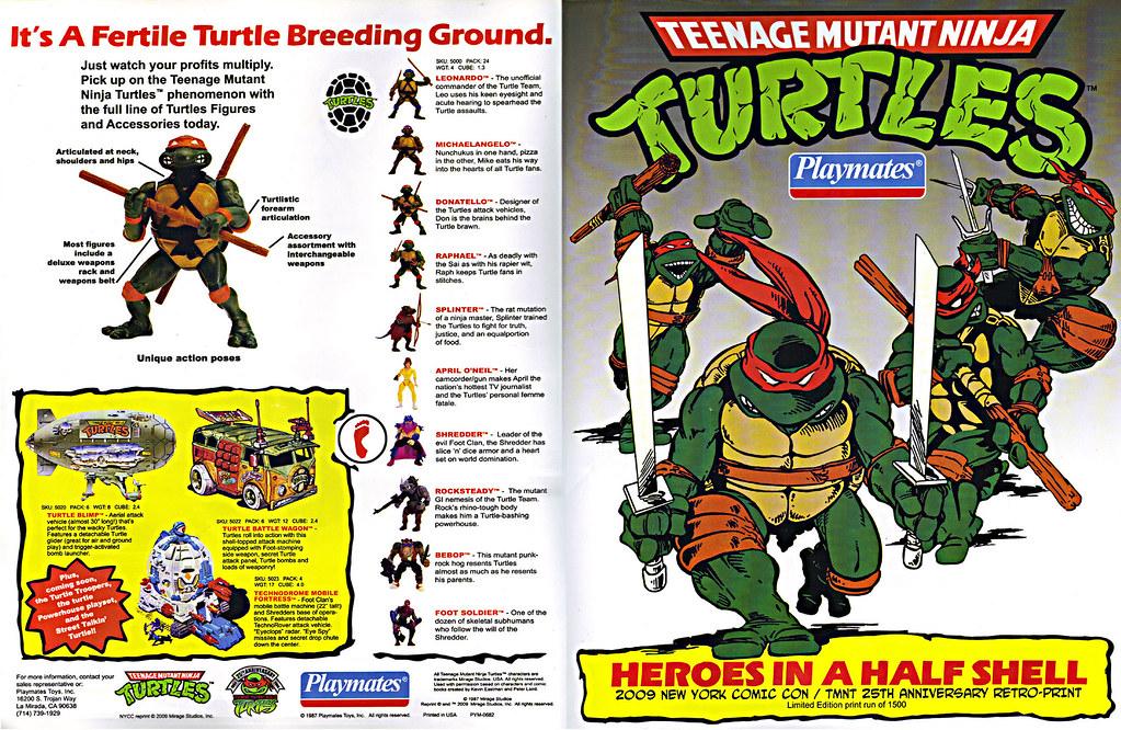 TEENAGE MUTANT NINJA TURTLES :: 'HEROES IN A HALF SHELL'  PLAYMATES TOYS 2009 NYCC / TMNT 25 RETRO PRINT ( 1987 Repro Sales Flyer } i (( 2009 )) by tOkKa