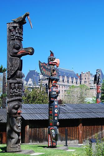 Totem Poles in Thunderbird Park, Victoria, Vancouver Island, British Columbia, Canada