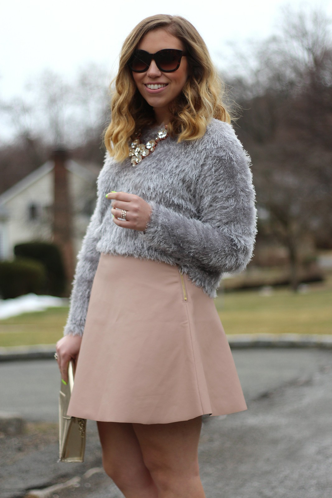 Gray Fuzzy Sweater | Pale Pink Mini Skater Skirt | A Look Back at 10 Years of Blogging Living After Midnite Blogger Jackie Giardina