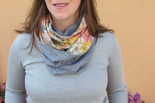 Infinity Scarf made with Robert Kaufman Dot Chambray and Liberty Tana Lawn in Mauvey   by Everyday Fray
