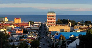 Sunset over Punta Arenas with the mysterious Strait of Magellan to Tierra del Fuego