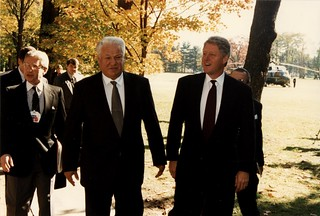 President Bill Clinton and Russian President Boris Yeltsin | by FDR Presidential Library & Museum