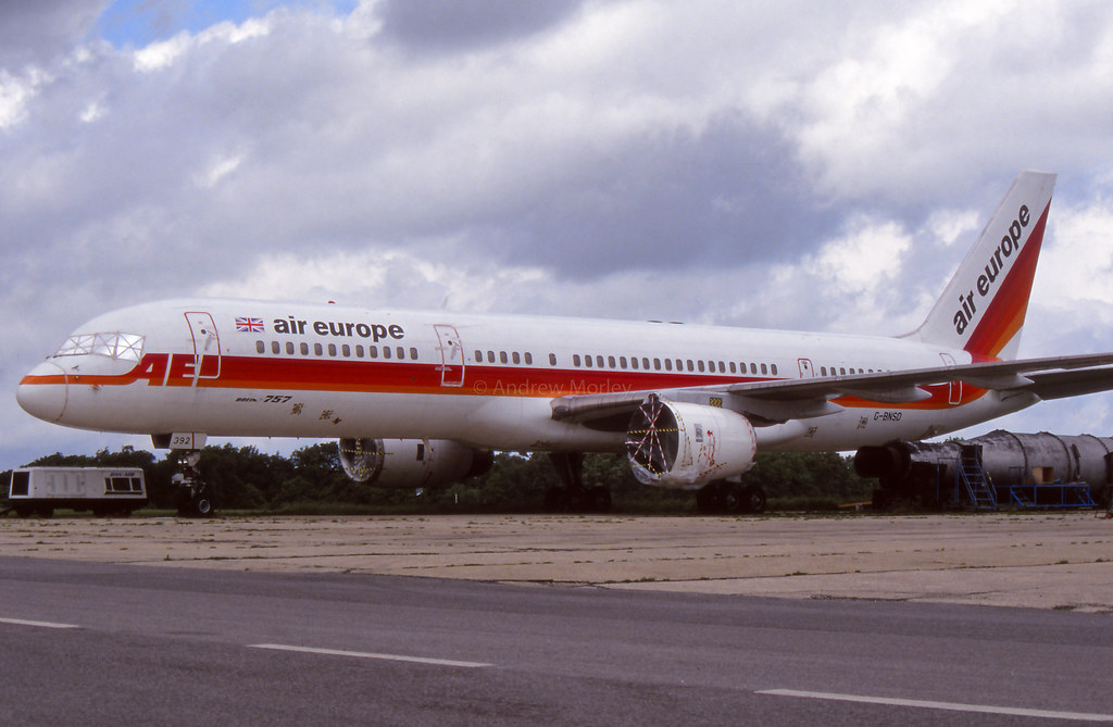 Air Europe Boeing 757 G-BNSD at Lasham on 26/6/91