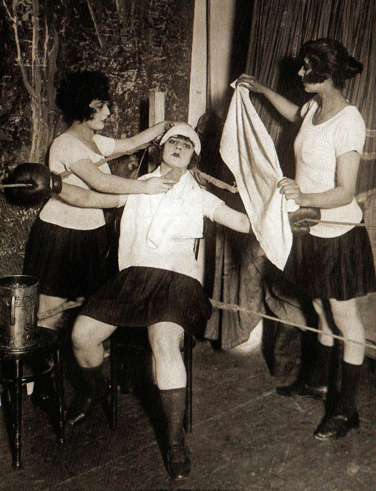 UK-women boxing 1920's resting between rounds | rquigley525 | Flickr
