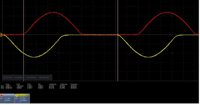 positive half dutycycle from signal 1 and negative from 2 arduino