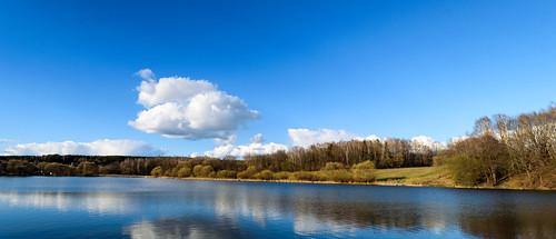 belarus lake landscape water sky clouds forest nature