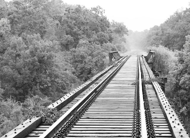 Pony Girder Railroad Bridge over Cedar Bayou, Baytown, Texas 1307201205BW