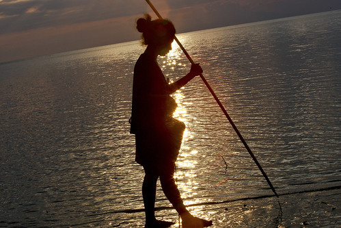 Woman Collecting Fish at Sunset | by United Nations Photo