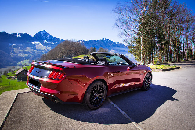 Mustang on the Road near Schwyz - Switzerland