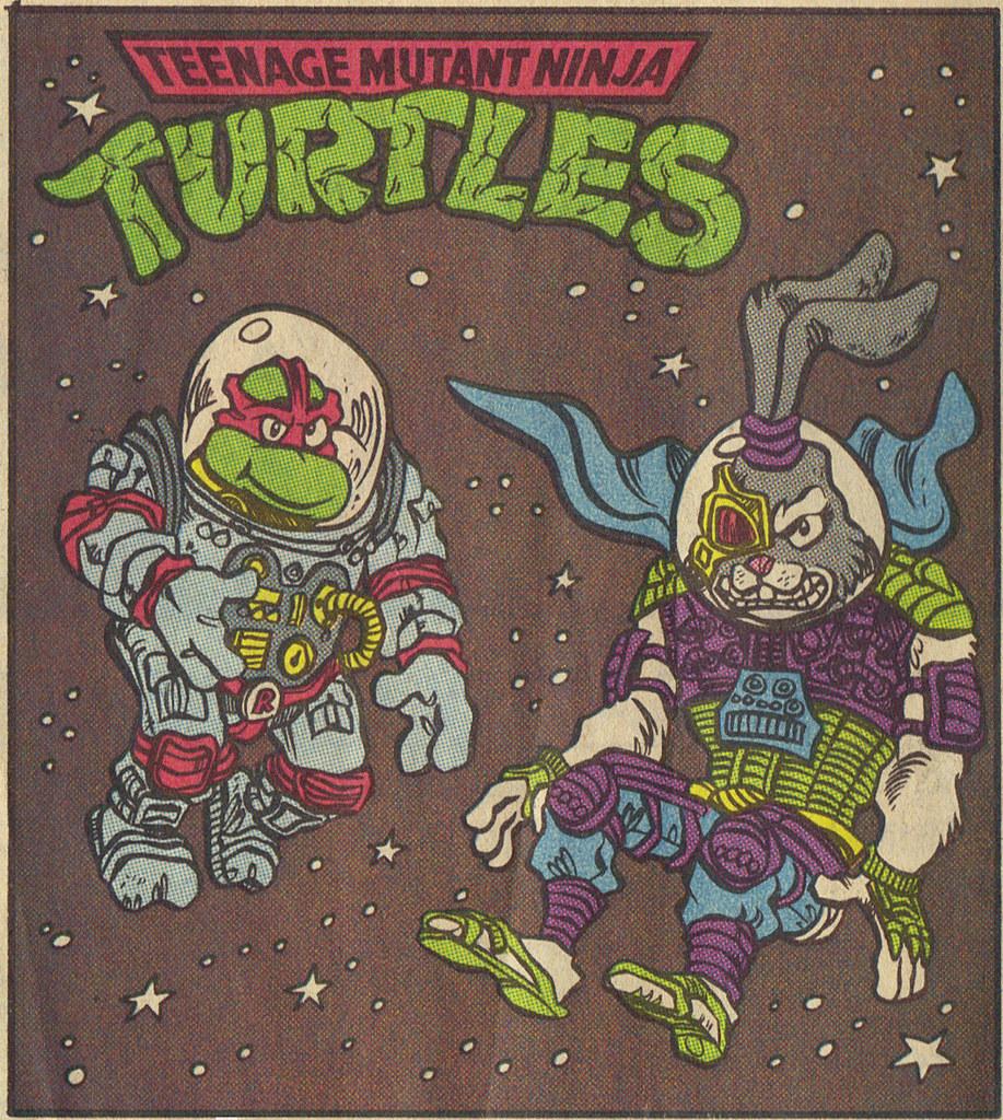 TEENAGE MUTANT NINJA TURTLES { newspaper strip } ..Raph, the Space Cadet + SPACE USAGI ; ..art by Lawson - isolated :: 02231992 by tOkKa