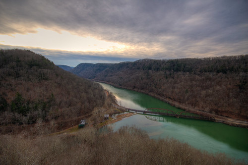newriver valley hawksneststatepark anstedwestvirginia west virginia wv new river hdr landscape sunrise winter