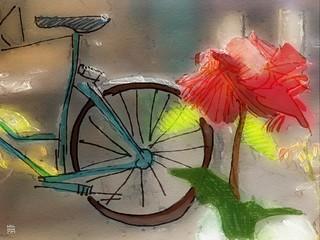 life scene 1841, bike and rose