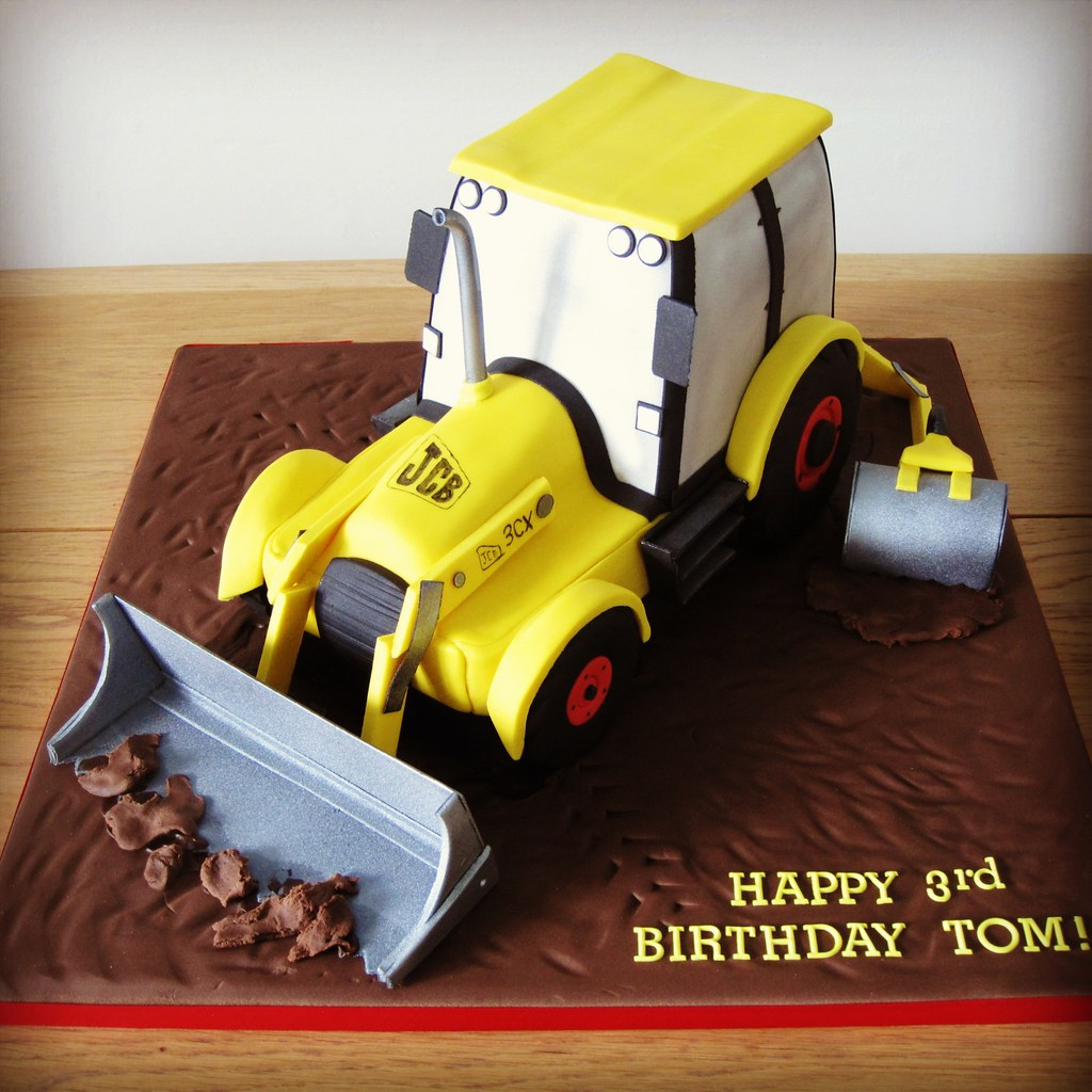 Awe Inspiring Jcb Digger Cake Boys 3Rd Birthday Cake Sharon Hinton Flickr Personalised Birthday Cards Beptaeletsinfo