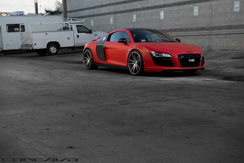 Audi R8 Matte Red on CW-S5 Matte Black Machined Face | by Concavo Wheels