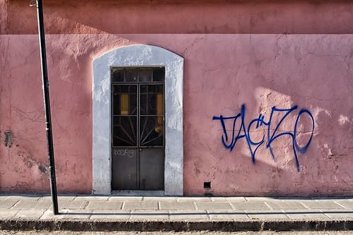 Wall with graffiti, Puebla, Mexico