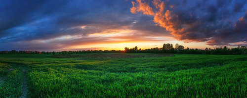 beautifulview burningsky clouds field flensburg glowingsky landscape nature panorama panoramahandheld sky spring sun sundown sunny sunset