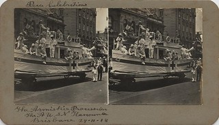 Float mock up of the hospital ship Kanowna, a float in the Armistice Parade, Brisbane, 1918
