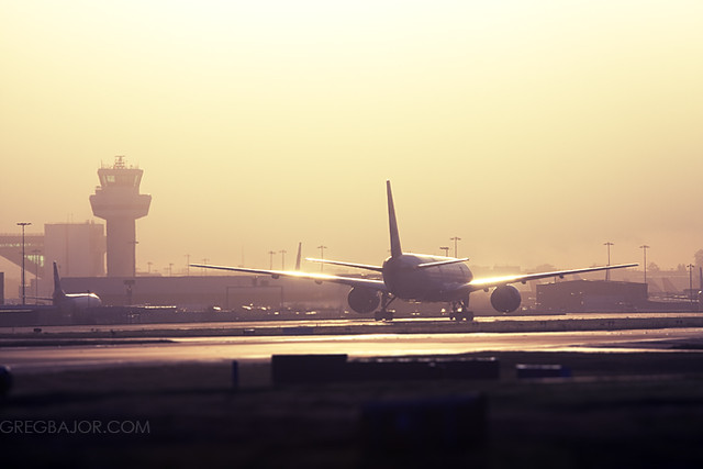 Commercial aircraft taxiing.