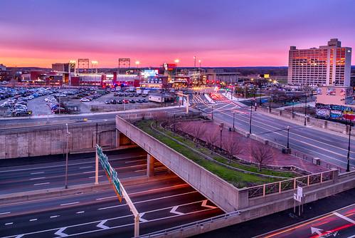 hartford ct connecticut hartfordhasit city sunset baseball bridge clouds hotel radisson longexposure colors canon wideangle