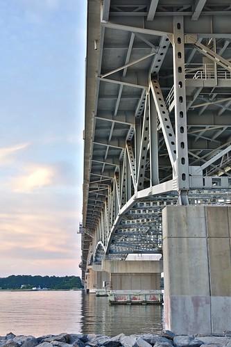 yorktown virginia yorkriver georgepcolemanbridge dusk sunset doubleswingbridge