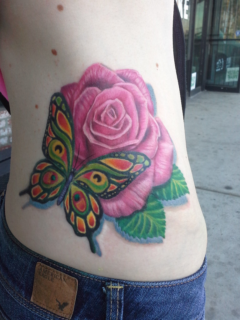 NEDA Butterfly and Rose Tattoo | This butterfly and rose tat… | Flickr