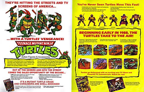 TEENAGE MUTANT NINJA TURTLES :: 'HEROES IN A HALF SHELL'  PLAYMATES TOYS 2009 NYCC / TMNT 25 RETRO PRINT ( 1987 Repro Sales Flyer } iv (( 2009 )) by tOkKa