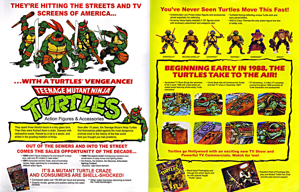 TEENAGE MUTANT NINJA TURTLES :: 'HEROES IN A HALF SHELL'  PLAYMATES TOYS 2009 NYCC / TMNT 25 RETRO PRINT ( 1987 Repro Sales Flyer } iv (( 2009 )) by tOkKa