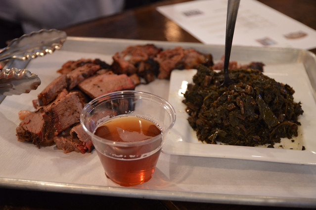 Brisket and Collards paired with Belgian Abbey (Triangle Brewing)