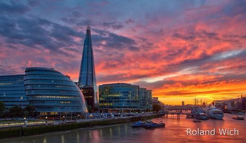 uk bridge sunset london tower thames river britain united great kingdom gb shard themse