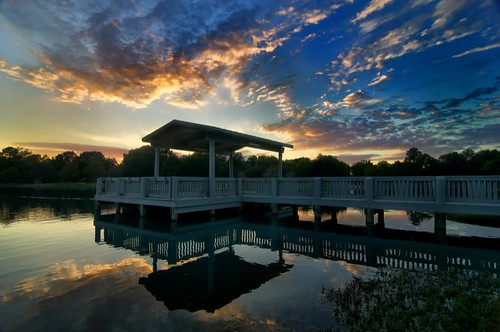 sunset lake clouds reflections dock texas katy dusk fishingpier katytexas orangeclouds woodendock peckhampark peckhamparkkaty