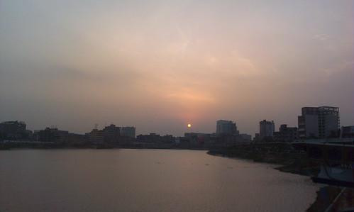 sunset sun lake nature all about dhaka bangladesh hatirjheel