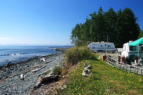Campground at Jordan River, South Coast Vancouver Island, British Columbia, Canada