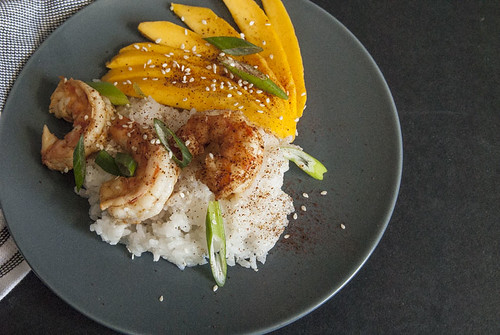 Chilli Lime Shrimp with coconut rice and mangoes 2 | by theSeasonaljunkie