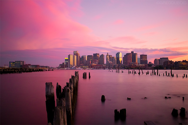 Pink Sunset over Boston Skyline and Harbor, Carlton's Wharf East Boston