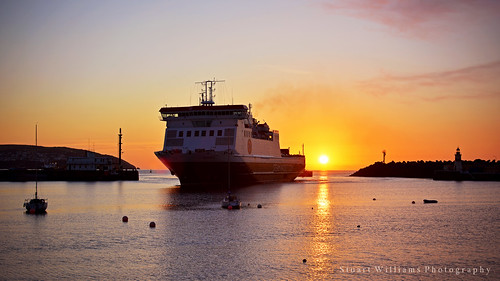 sea ferry sunrise coast ship harbour douglas isleofman benmychree