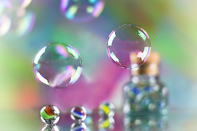 Soap bubbles and glass balls
