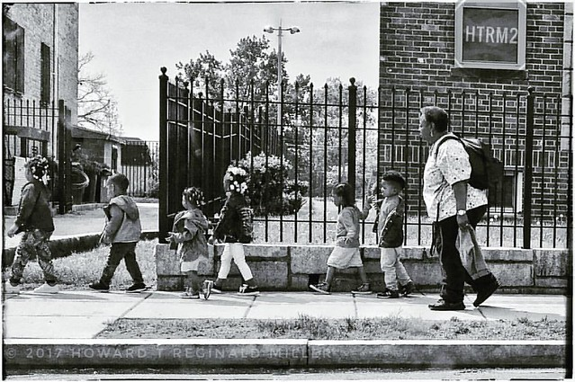 """""""Little Ducks In A Row, 2017"""" Copyright © 2017 Howard T Reginald Miller.  All rights reserved.  #HTRM2 #BlackMagic #BlackLOVE #BlackIsBEAUTIFUL #monochromatic #BW #blackandwhitephotography #Children #Education #iPhone #iPhone6SE  #DC #Anacostia"""