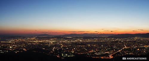 sunset panorama athens greece