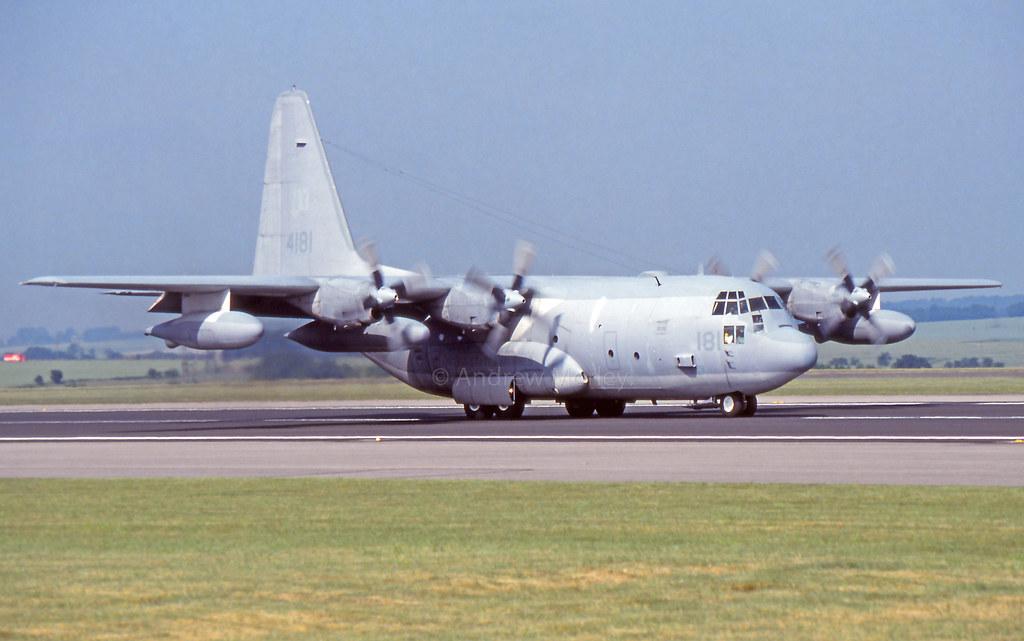 USMC KC-130T 164181/NY-4181 at A&AEE Boscombe Down in 1992.