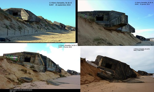 Ile de ré, Conche des Baleines, érosion dunaire 2010-2014